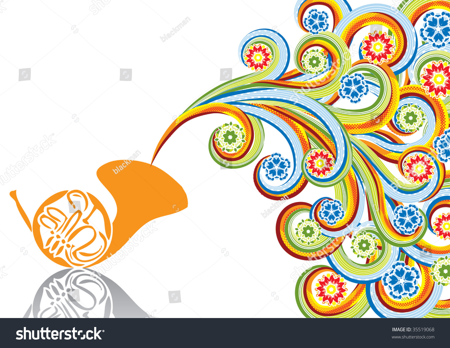 French Horn In Abstract Collage Format A4 Vector