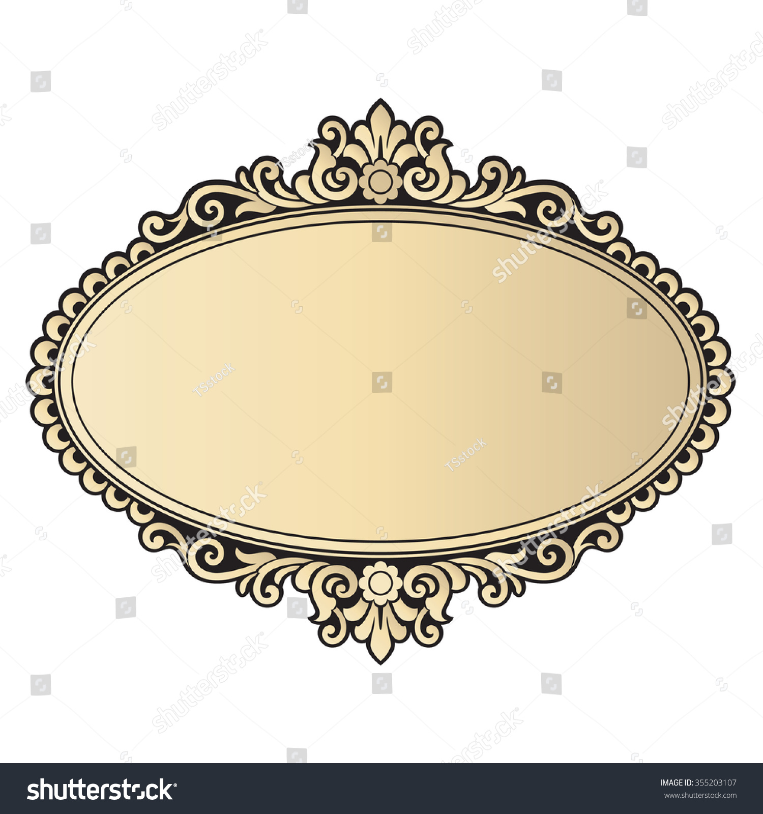 Vector vintage border frame engraving retro stock vector for Rococo style frame