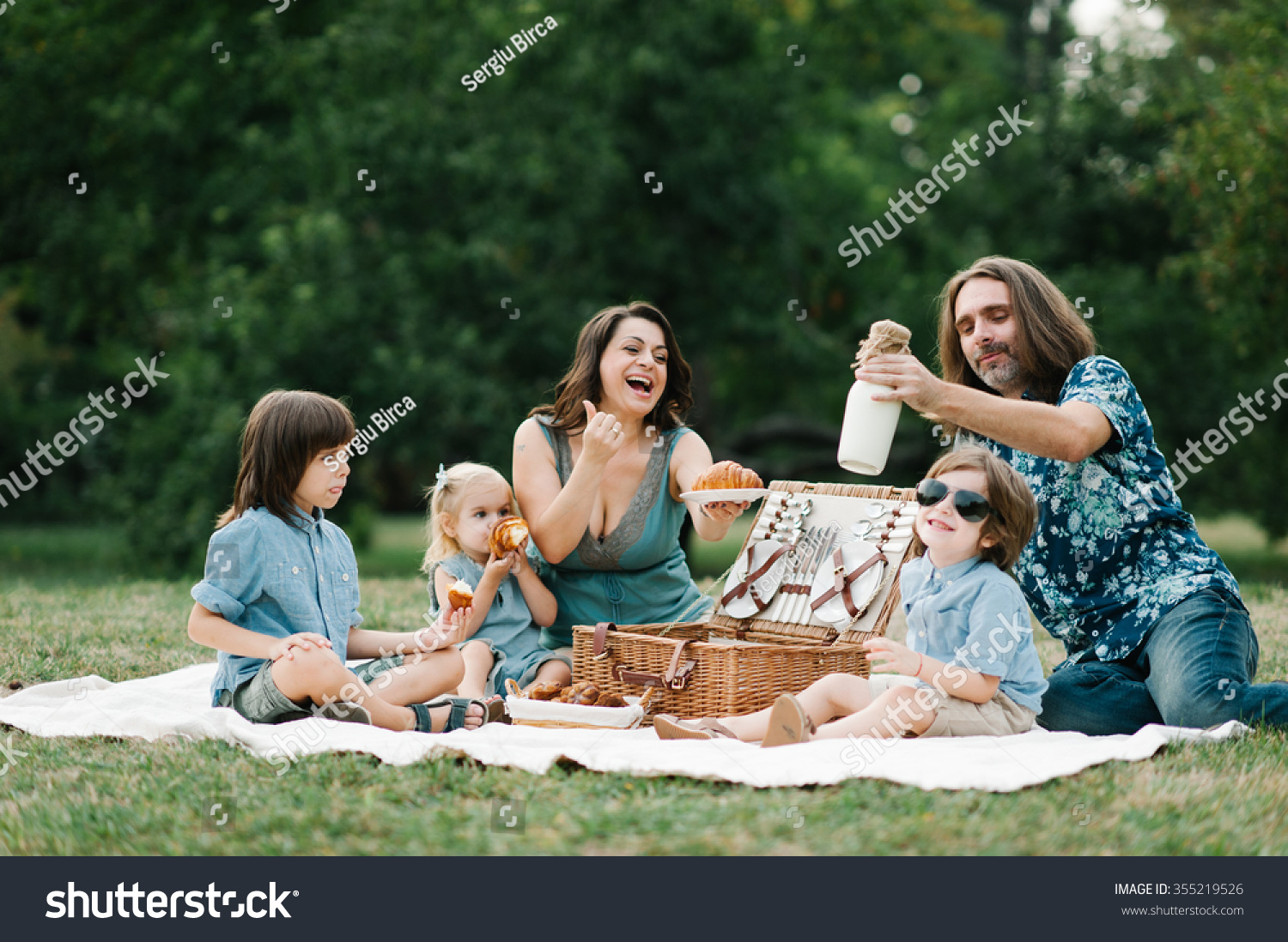 Happy Young Hipster Family Having Fun Stock Photo ...