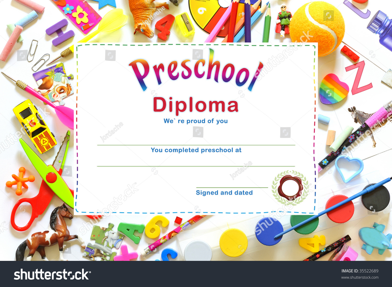 Preschool Diploma Stock Photo 35522689 - Shutterstock