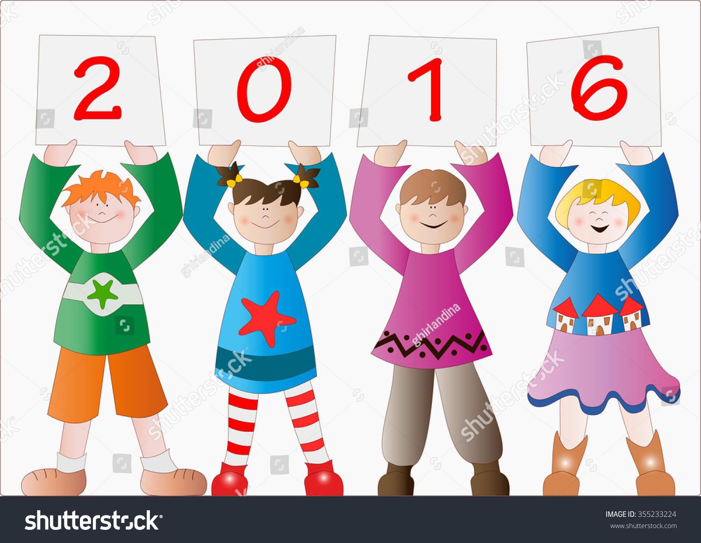 Year greetings children stock vector 355233224 shutterstock year greetings with children kristyandbryce Gallery