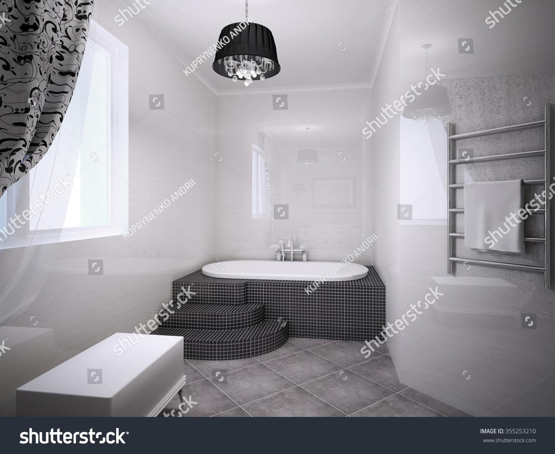 Beautiful Bathroom Jacuzzi Art Deco Style Stock Illustration ...