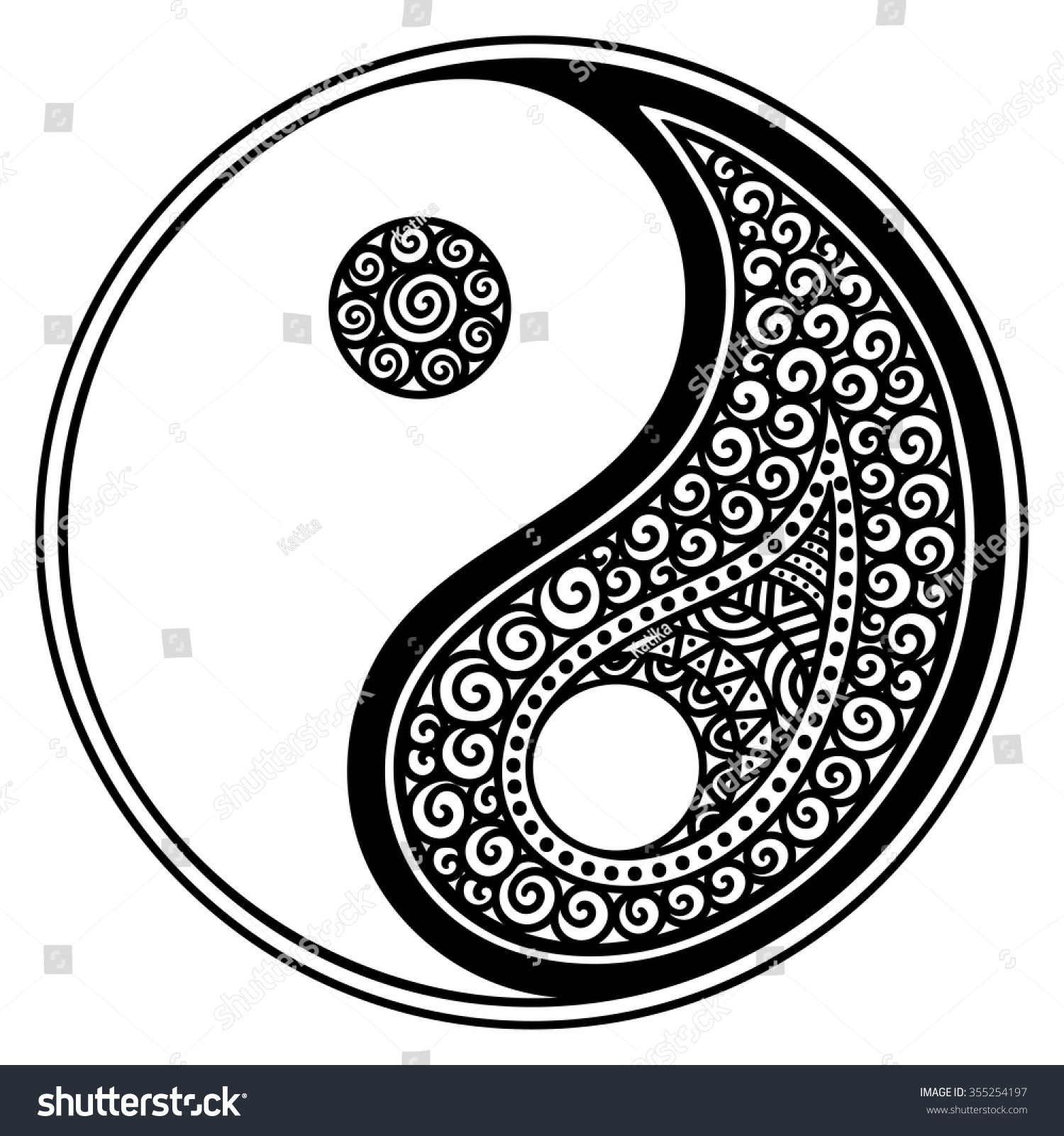 Yin,yang decorative symbol. Hand drawn vintage style design element.