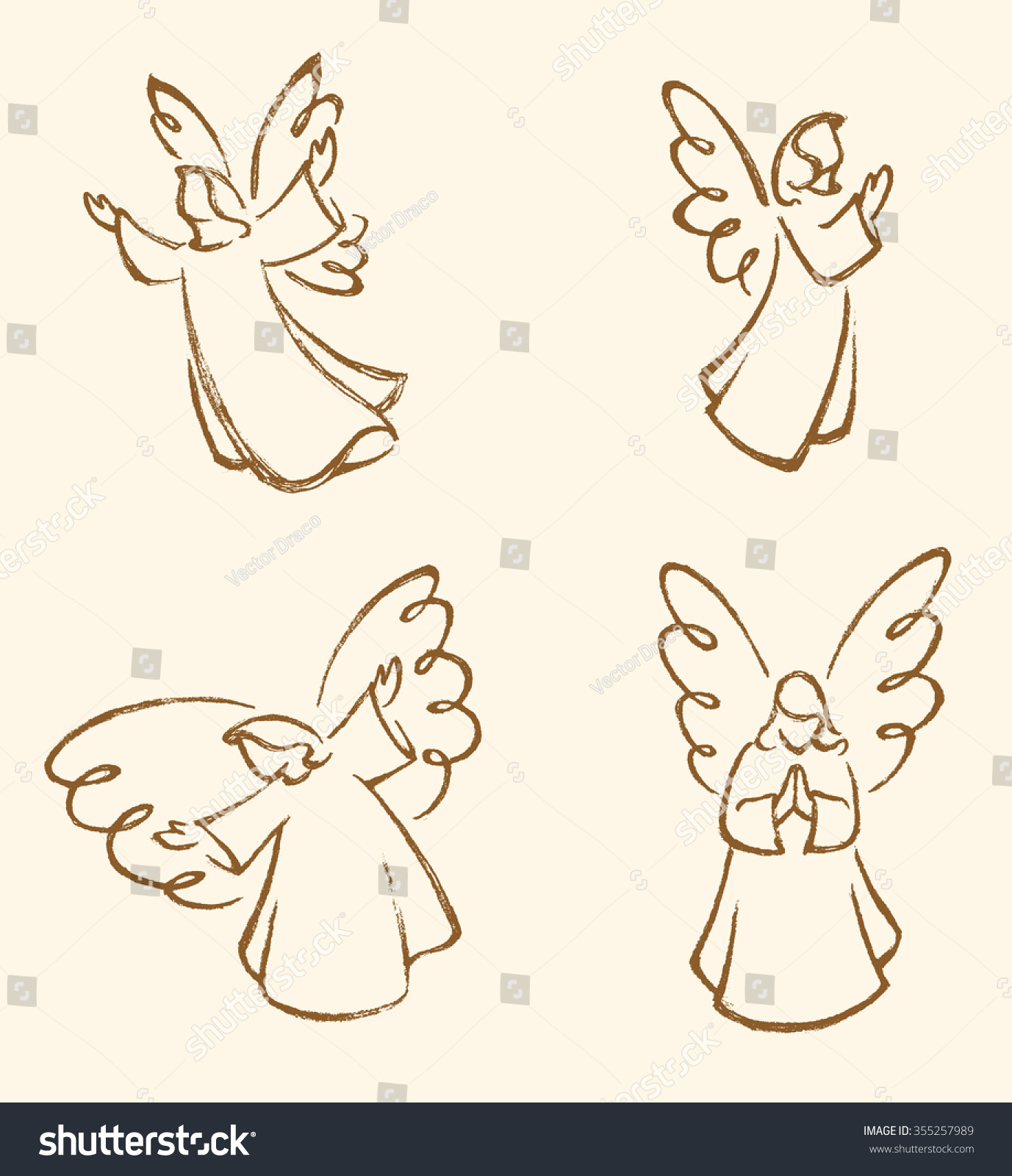 angel sketch setvariations angels traced my stock vector 355257989