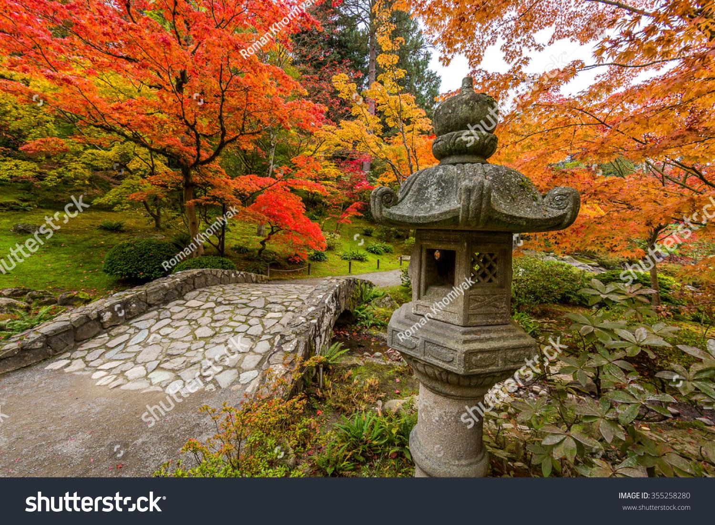 Seattle Japanese Garden Fall Foliage Stock Photo (Edit Now ...