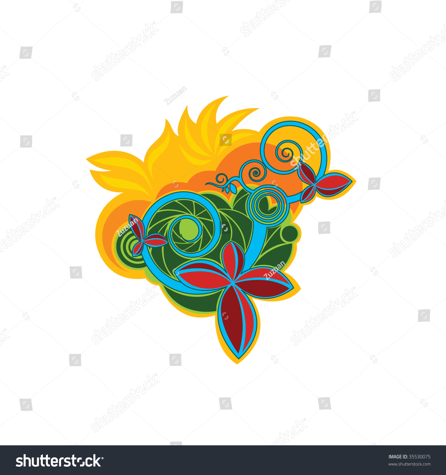 organic abstract flower design stock vector illustration