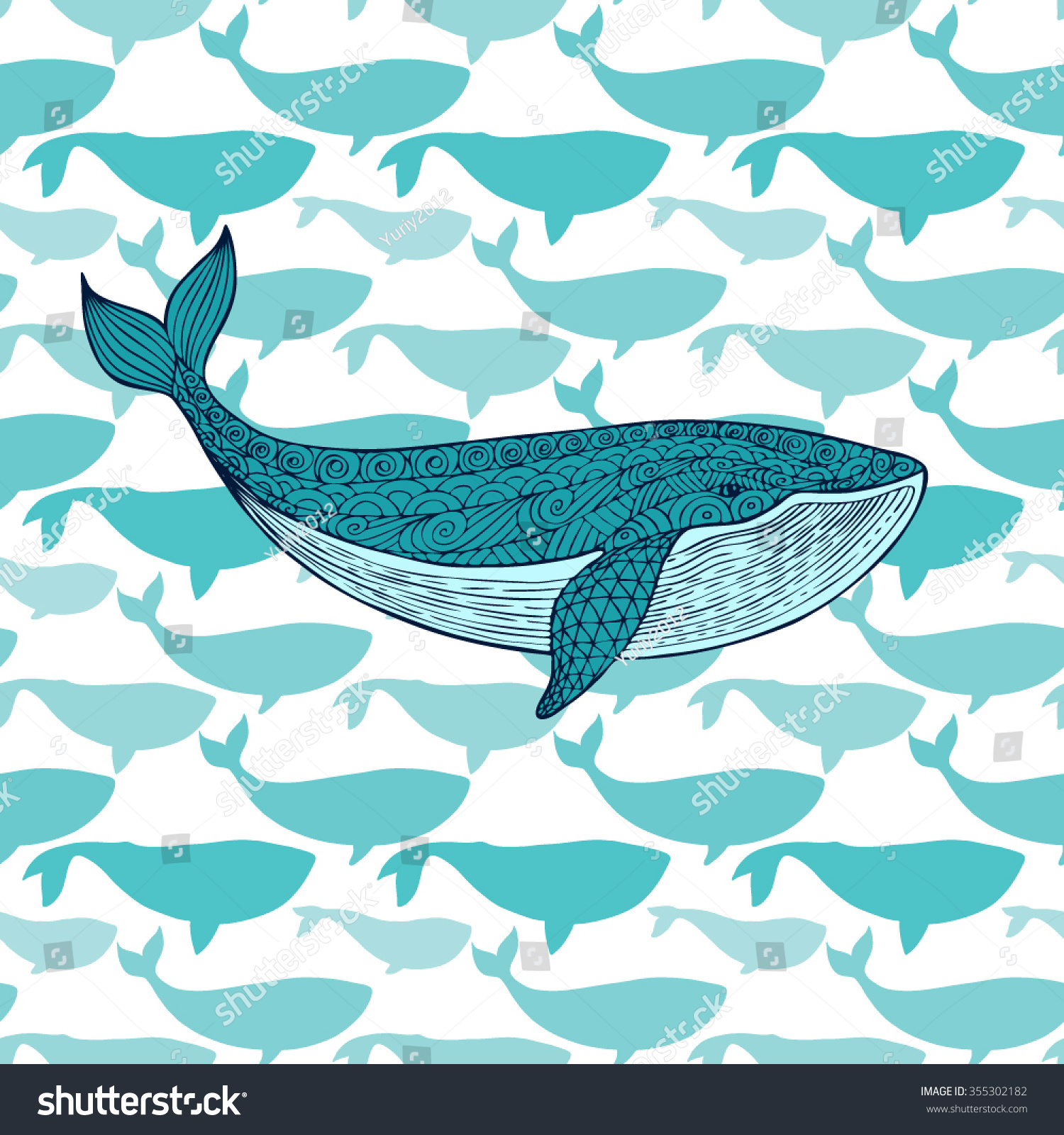 Stock vector ethnic animal doodle detail pattern killer whale - Great Blue Whale On The Background Of A Flock Of Fish Abstract Seamless Pattern Of
