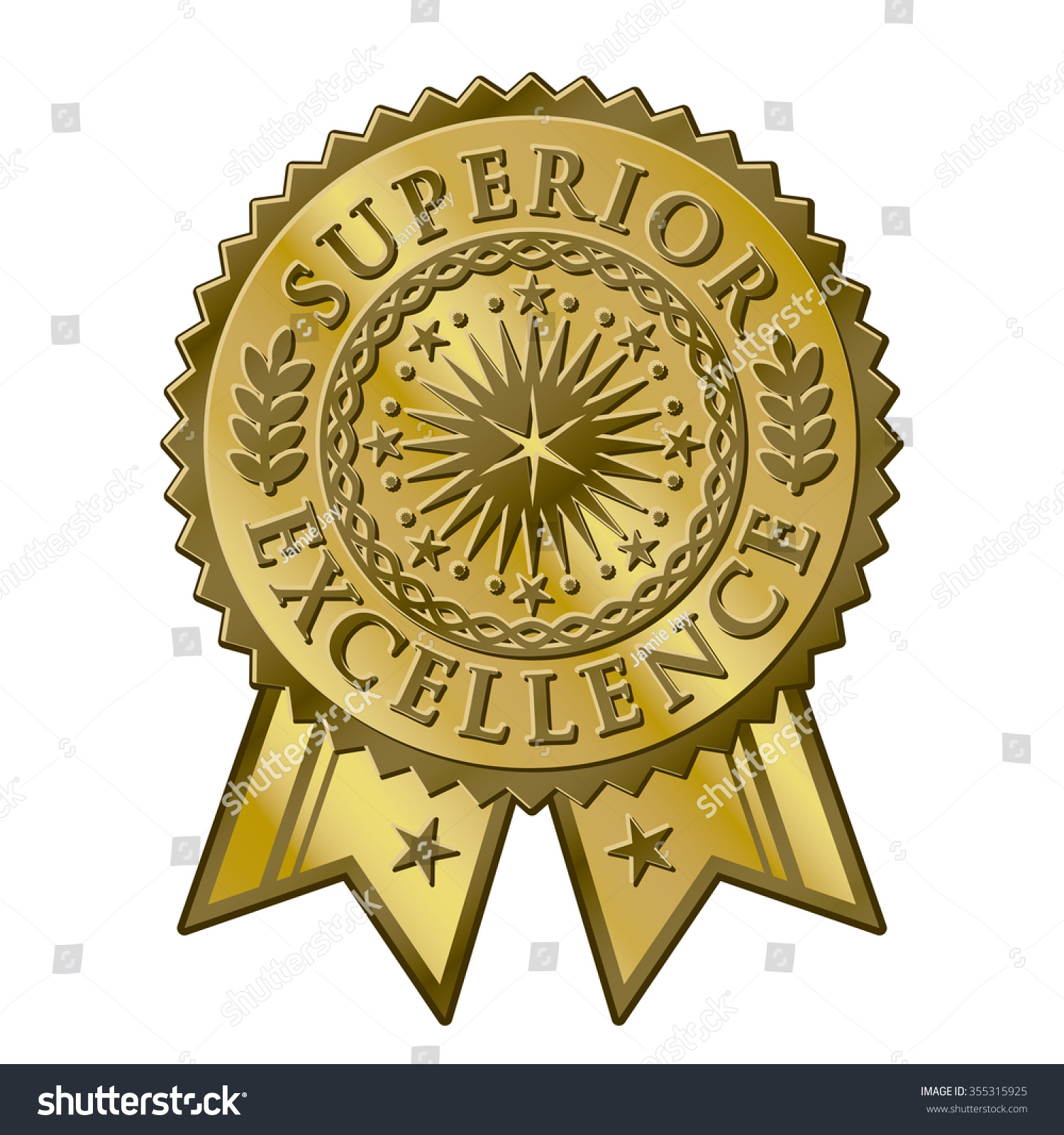 Gold Certificate Award Seal Superior Excellent Stock Vector Royalty