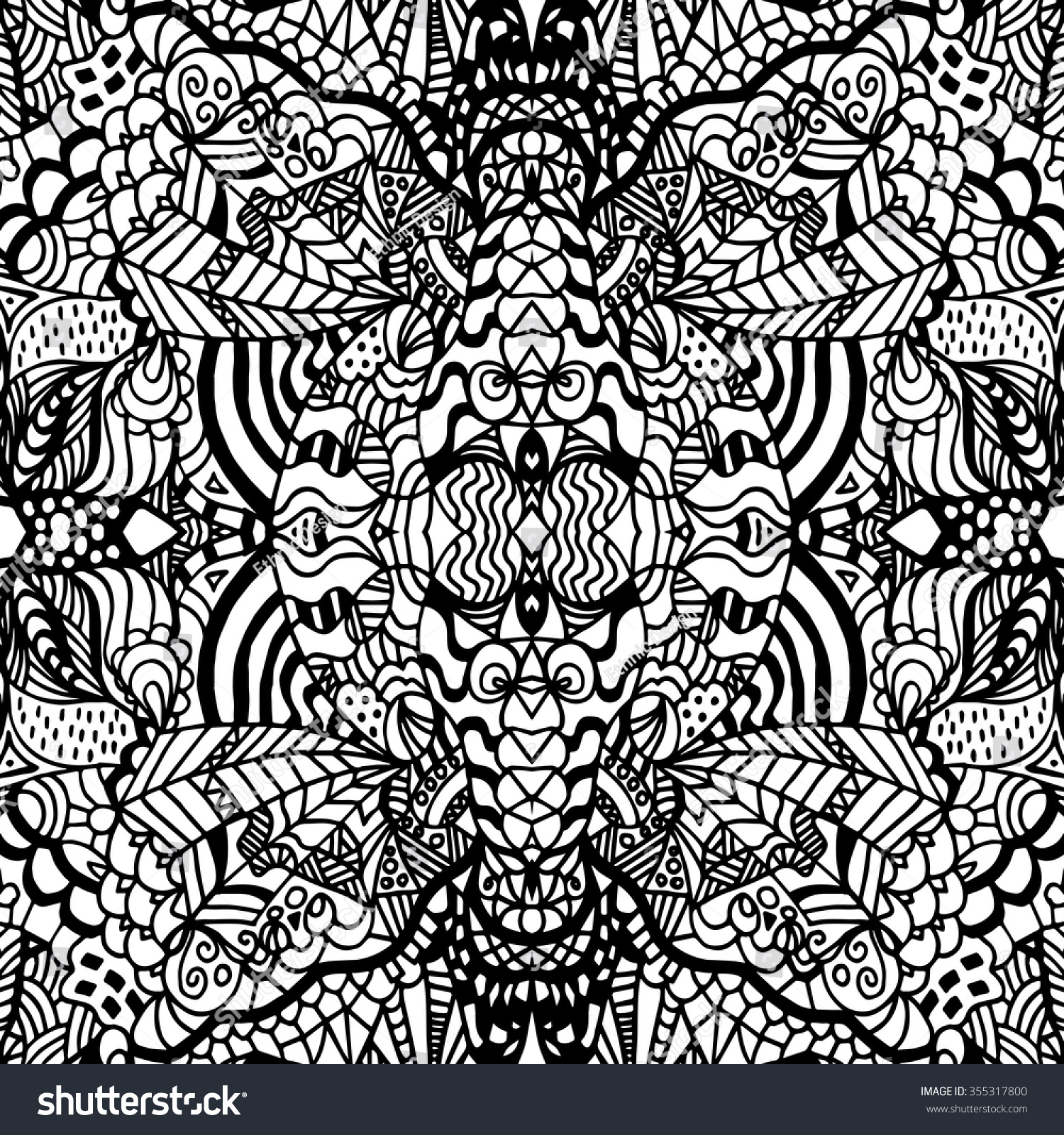 Adults colouring book pages - Adult Colouring Book Pages Vector Abstract Seamless Fantasy Pattern Hand Drawn Outline Geometrical Ornaments