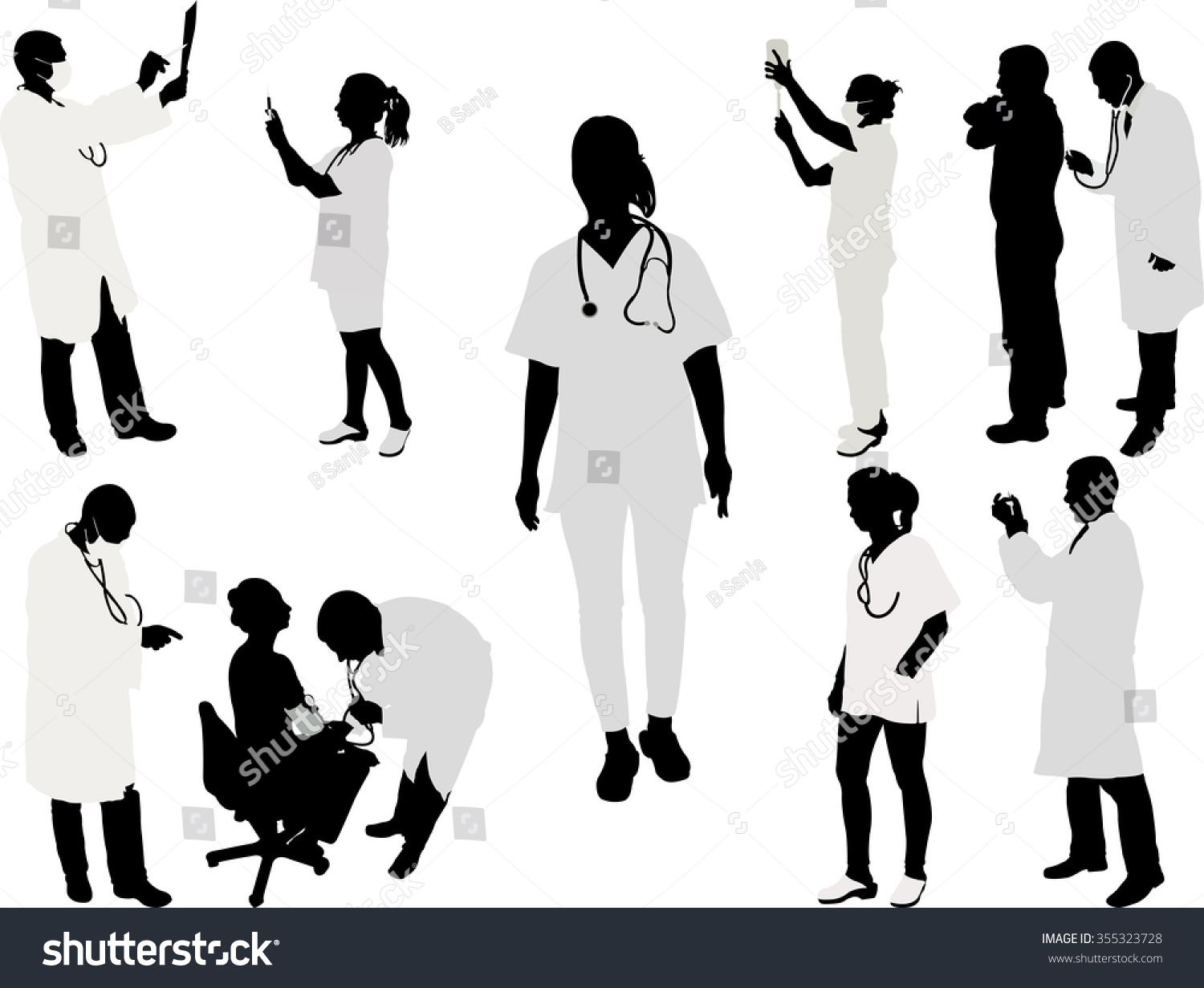 Doctor And Patient Silhouette - Vector Illustration 1 ...