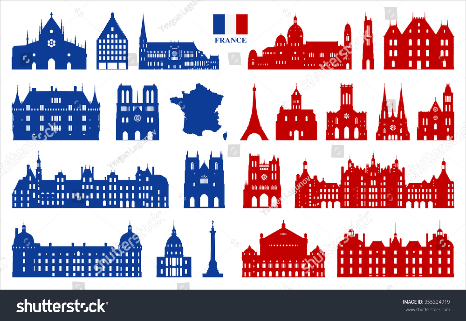 French architecture symbols france stock vector 355324919 french architecture and symbols of france biocorpaavc