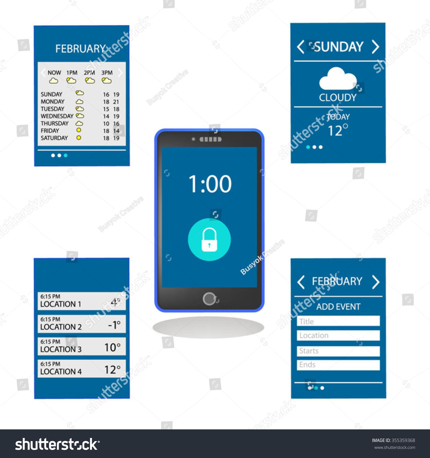 weather schedule ui ux design mobile stock vector 355359368
