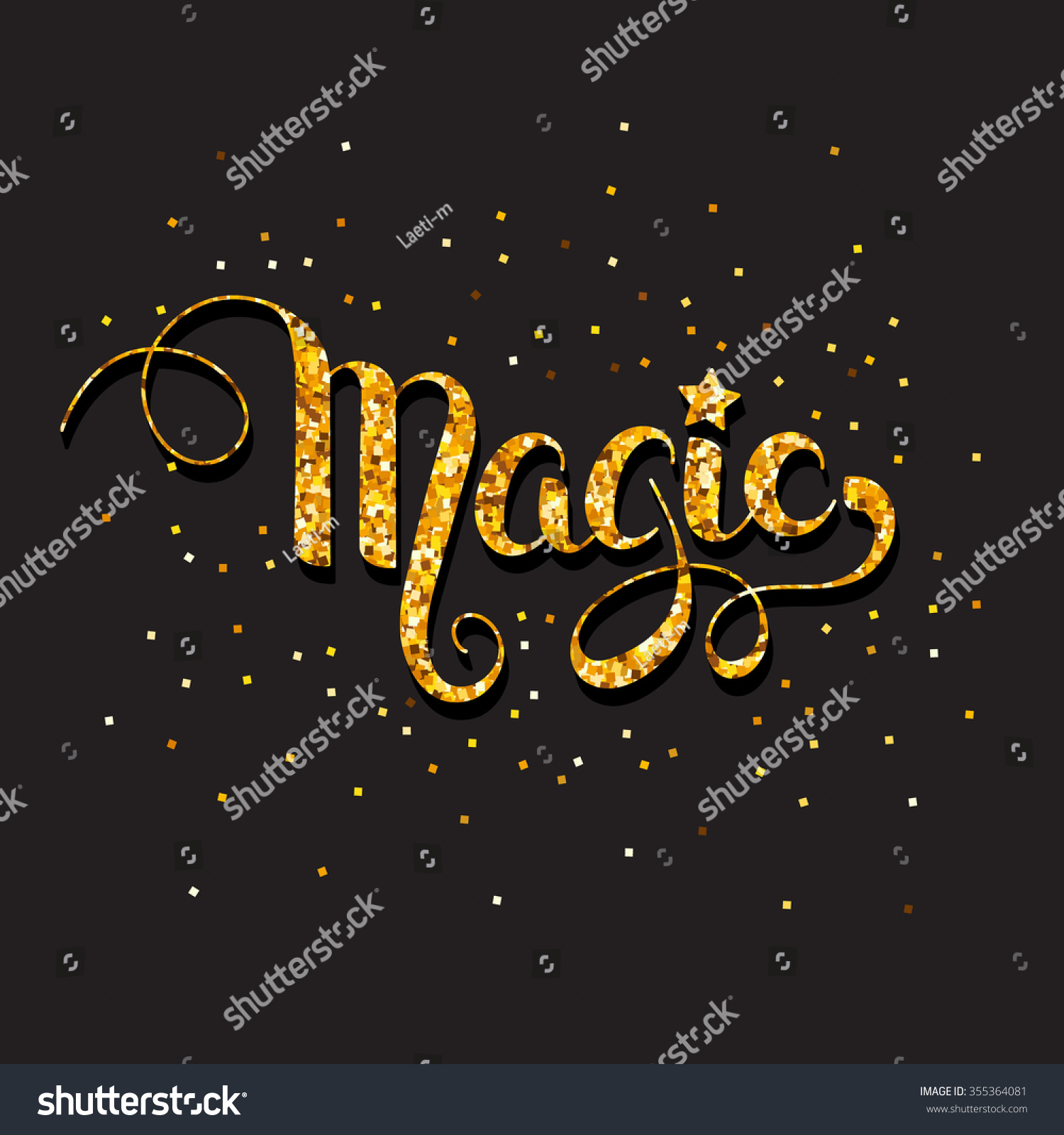 Hand Written Word Magic Texture Gold Stock Vector (Royalty Free