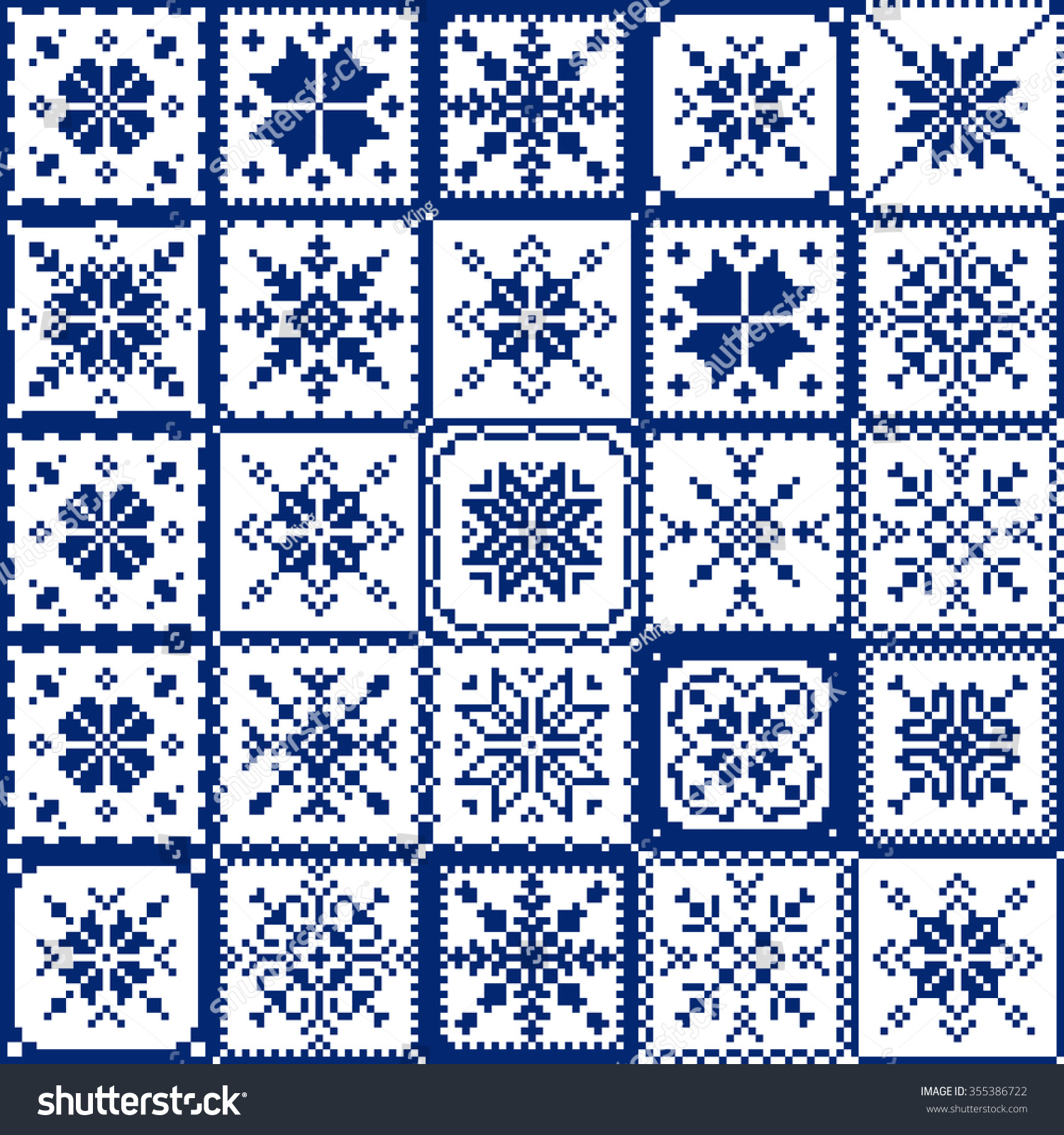 Knitting Patchwork Quilt Patterns : Set patchwork knitted new years snowflake stock vector
