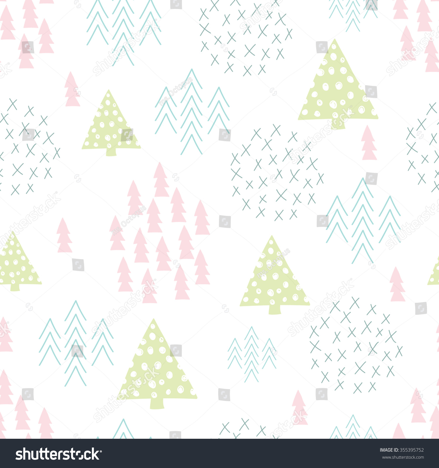 Seamless fir tree scandinavian pattern textile background wrapping - Seamless Scandinavian Style Simple Illustration Christmas Tree Theme Background