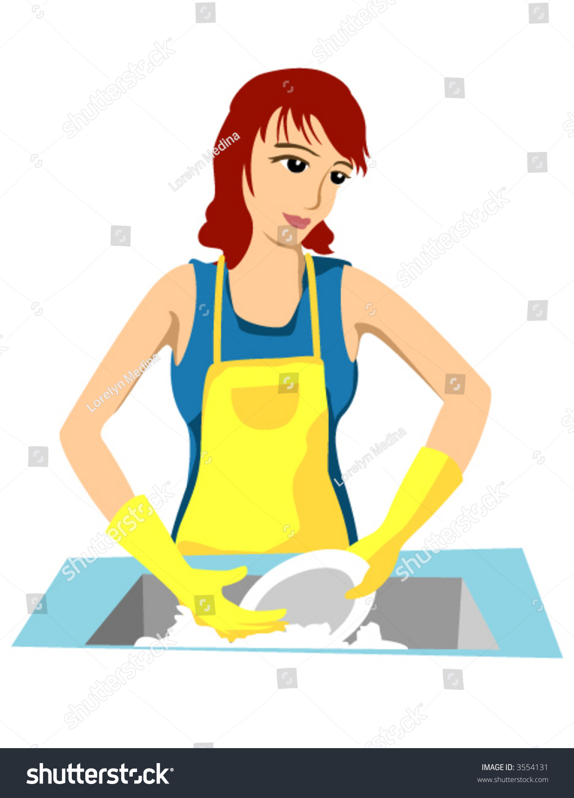 Washing Dishes Vector Stock Vector 3554131 - Shutterstock