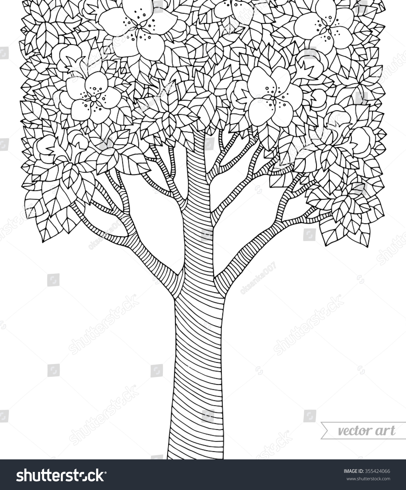 forest apple tree flowers vector botany stock vector 355424066