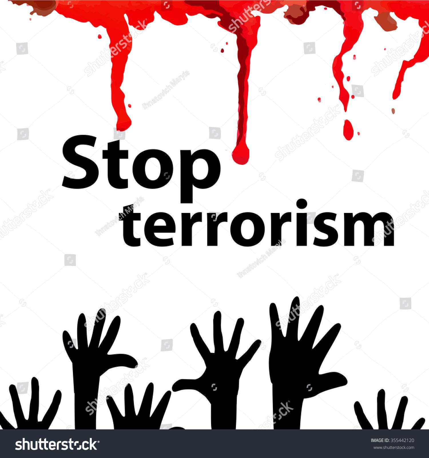 Dripping Blood No Terrorism Vector Stock Vector 355442120 ... No Terrorism