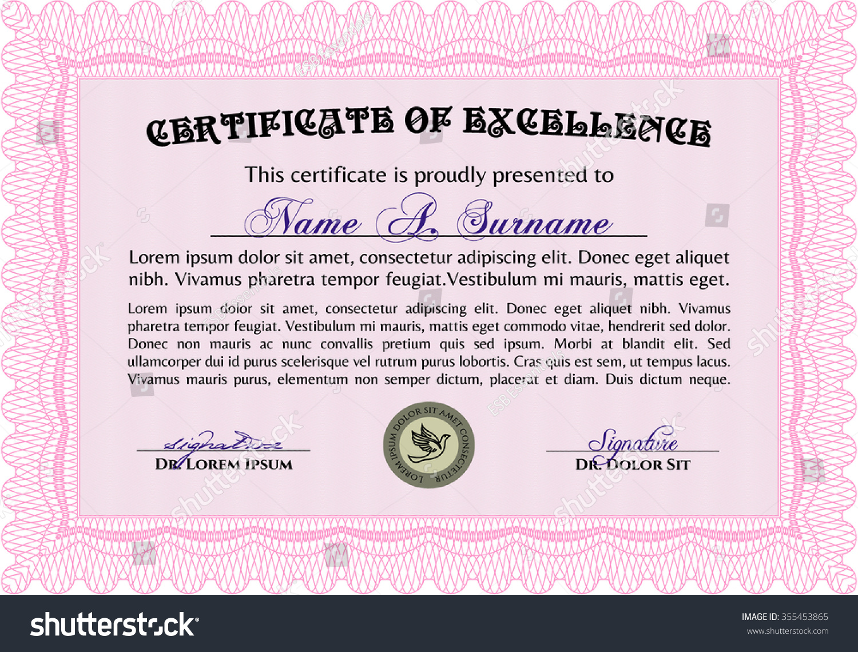 Diploma Template Certificate Template Beauty Design Stock Vector