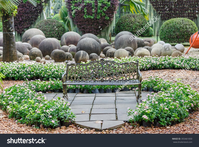 pattaya chonburi dec,27 : the bench garden in beautiful garden
