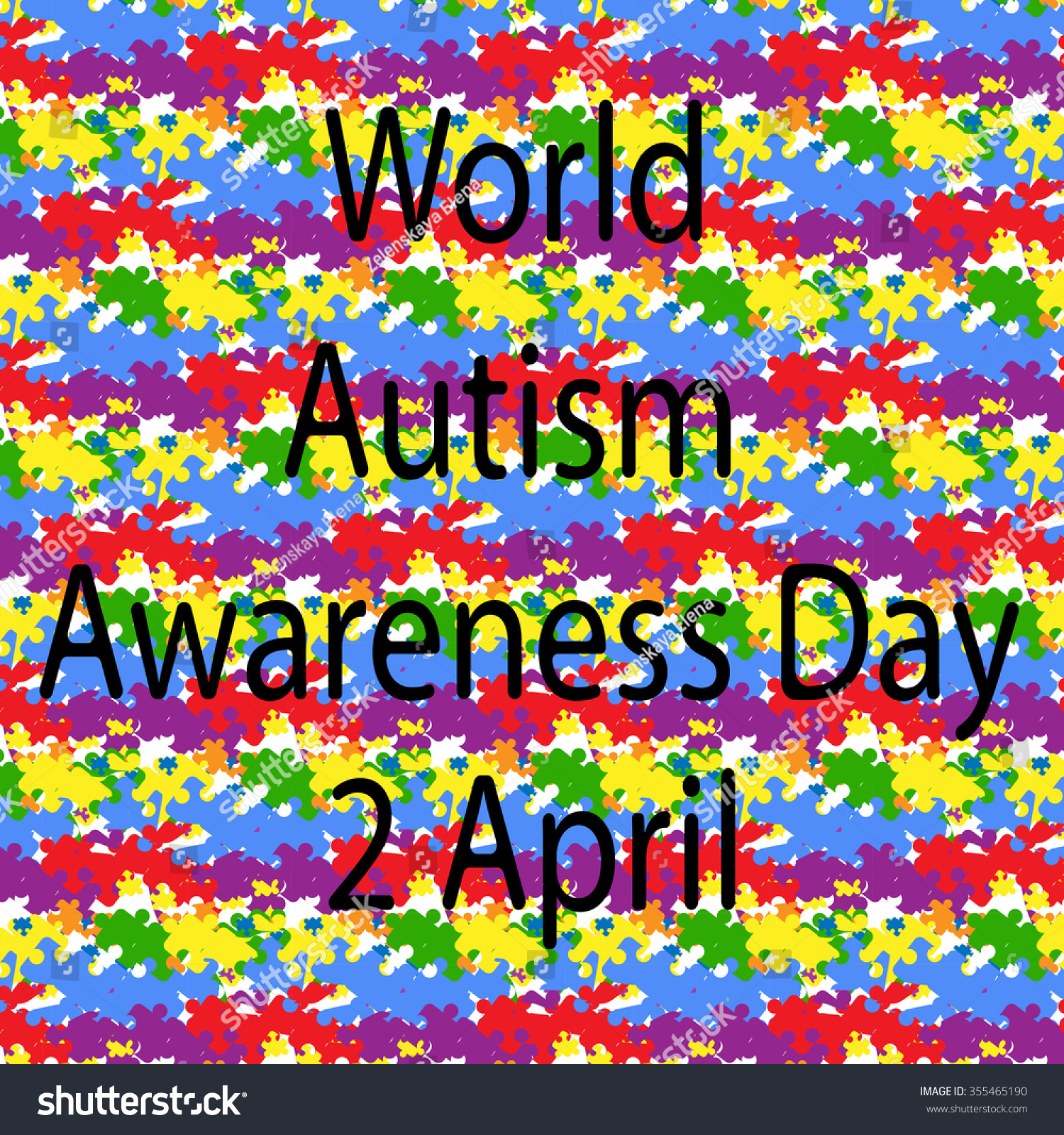 Black lettering world autism awareness day stock illustration black lettering world autism awareness day and the combination colorful puzzles symbol of autism biocorpaavc
