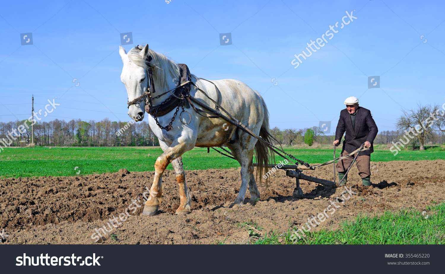 Kalush, Ukraine â?? April 23: Fallowing of a spring field by a