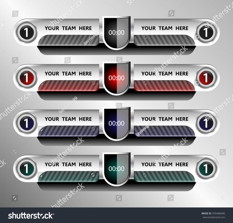 Football Soccer Scoreboard Template On Grey Stock Vector 355468406 ...