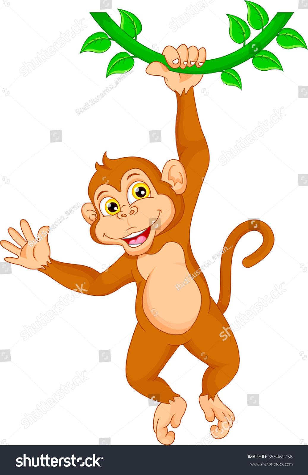 Cartoon monkeys hanging from a tree - photo#2