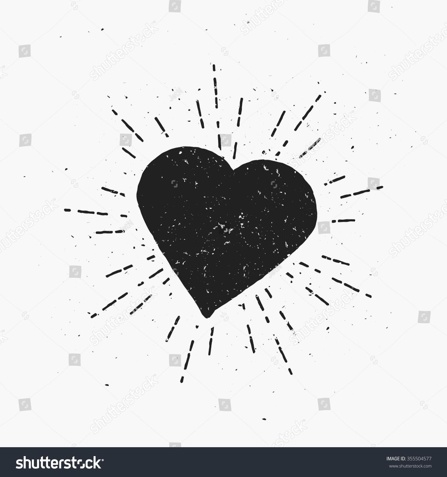 vintage heart illustration hipster theme template のベクター画像