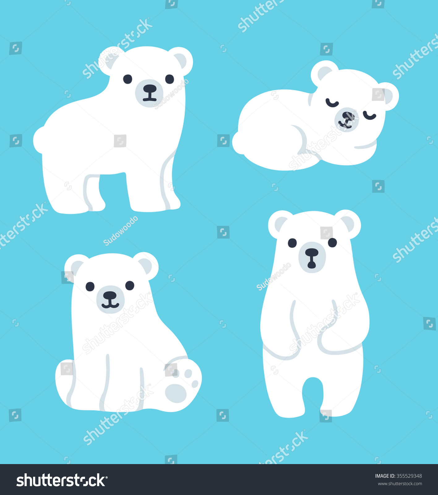 Cute cartoon polar bear cubs - photo#3