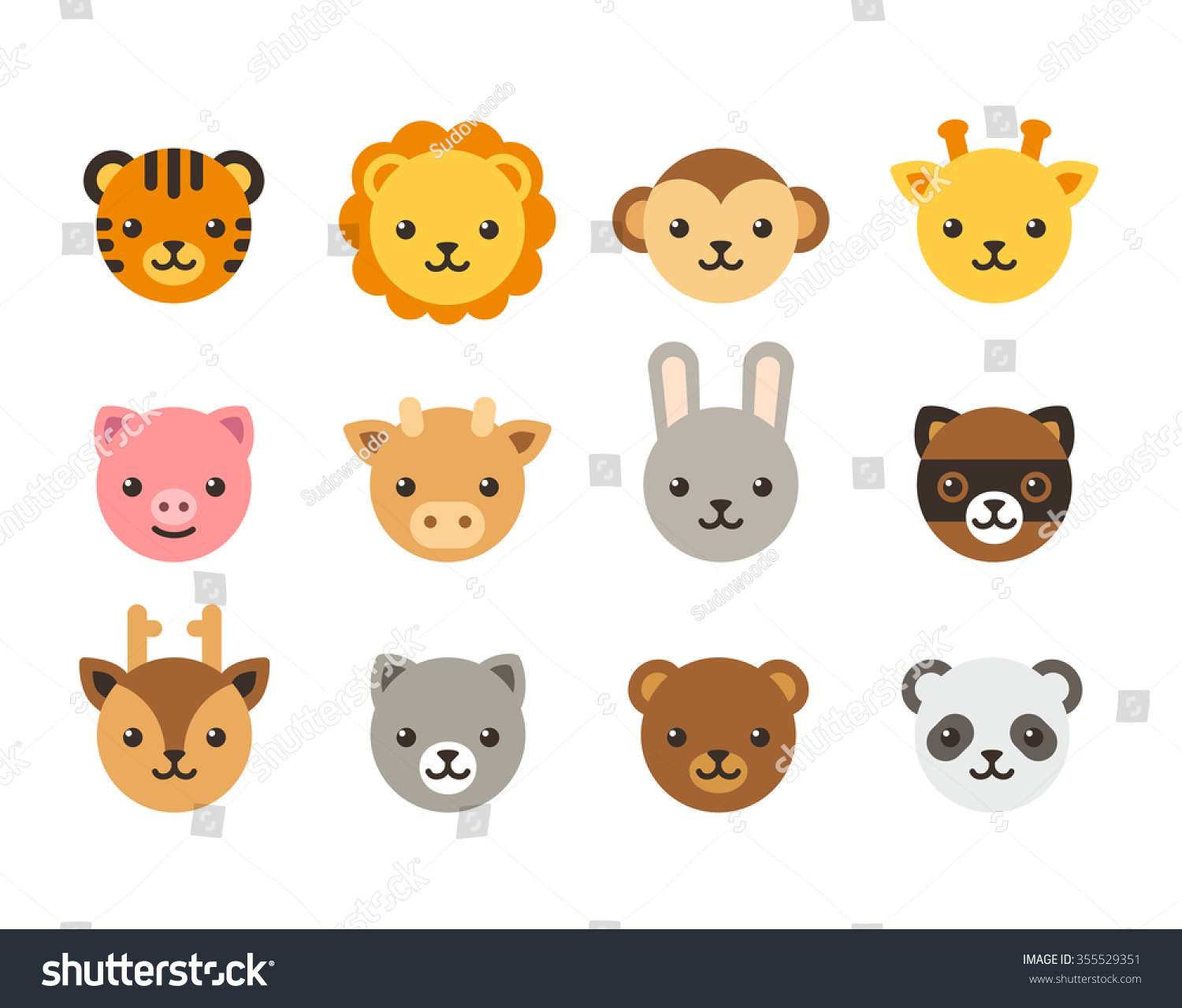 Set Cute Animal Heads Domestic Wild Stock Illustration 355529351 Shutterstock
