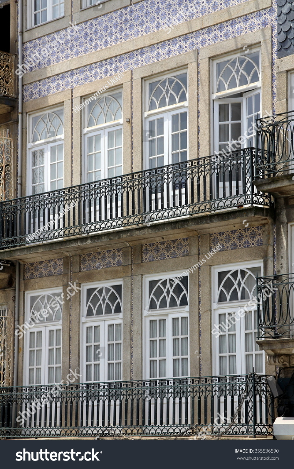 House Front Adorned With Azulejos Wall Tiles In Porto Portugal