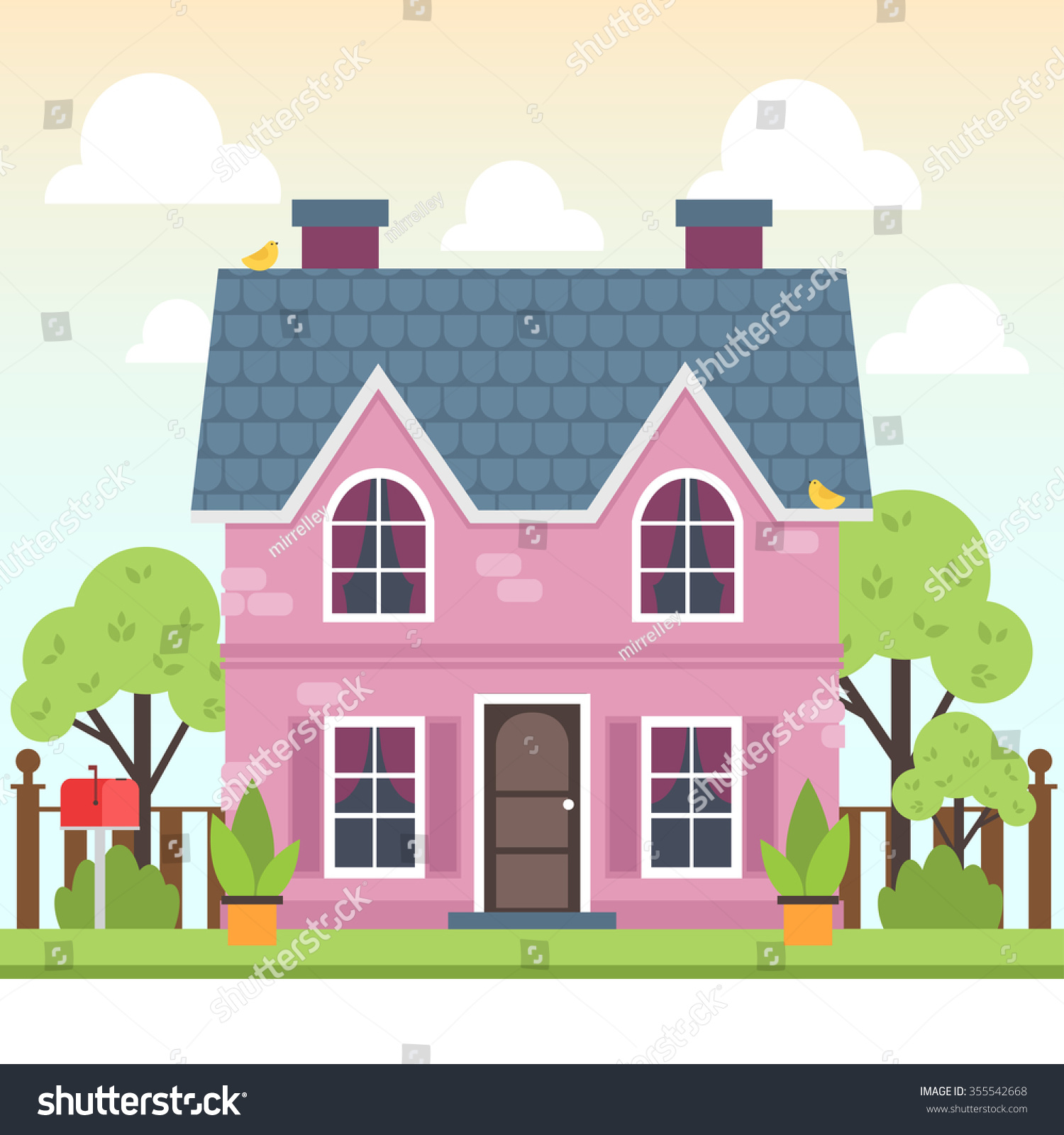 Illustration Cute Colorful House Trees Bird Stock Vector