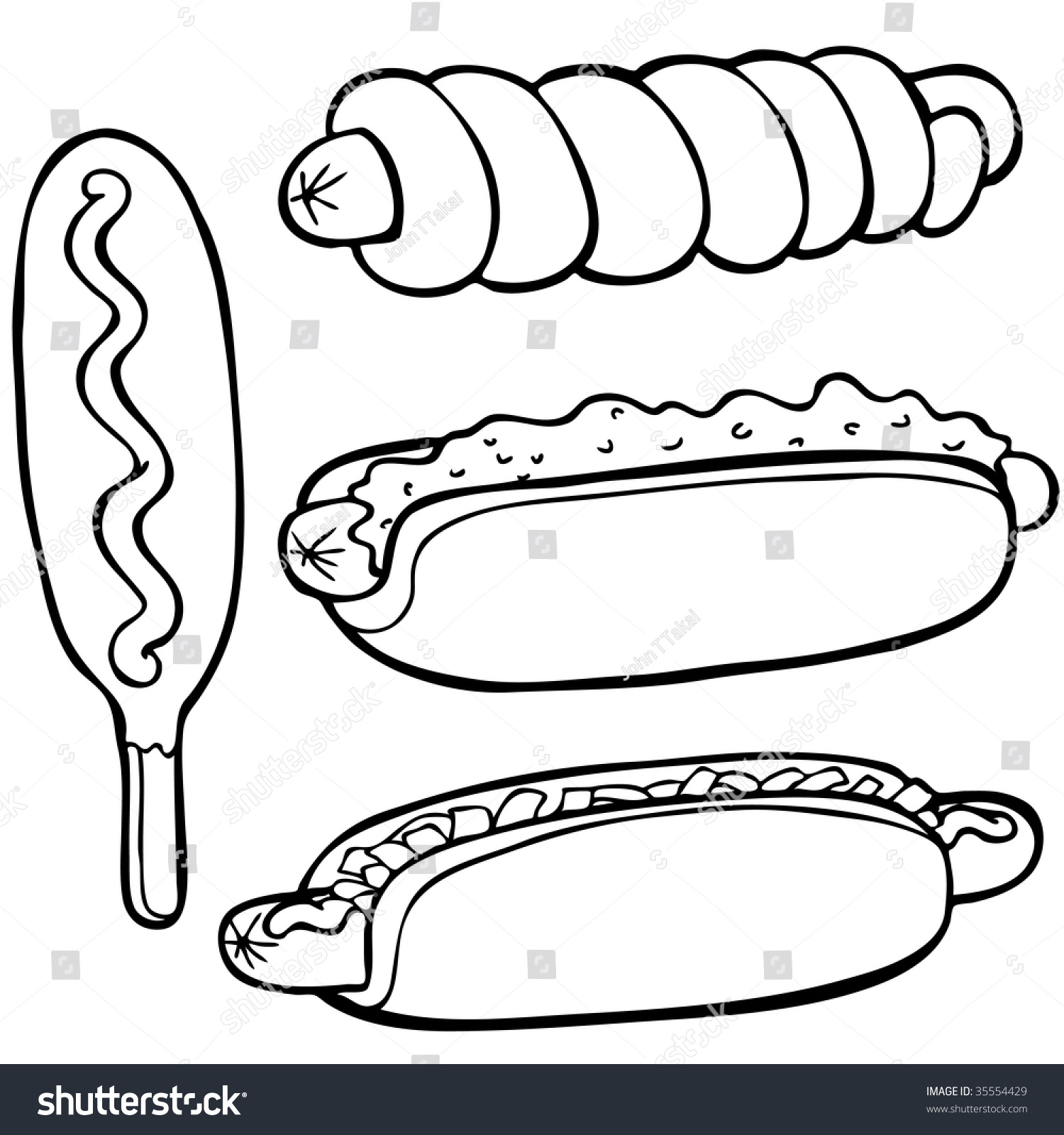 Line Drawing Food : Hot dog food items line art stock vector