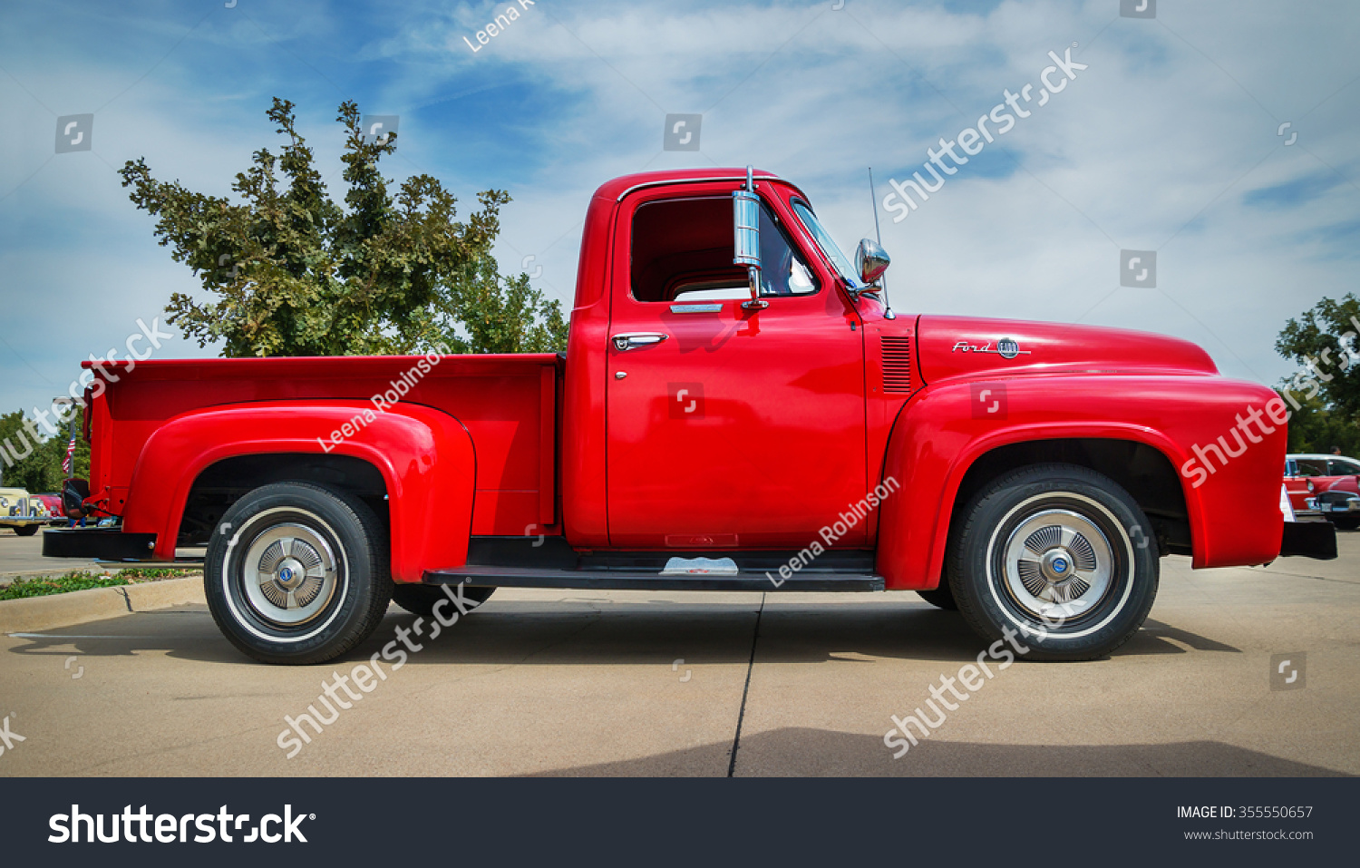 Westlake Texas October 17 2015 Side Stock Photo Edit Now 355550657 1955 Ford F100 Rat Rod Trucks View Of A Red