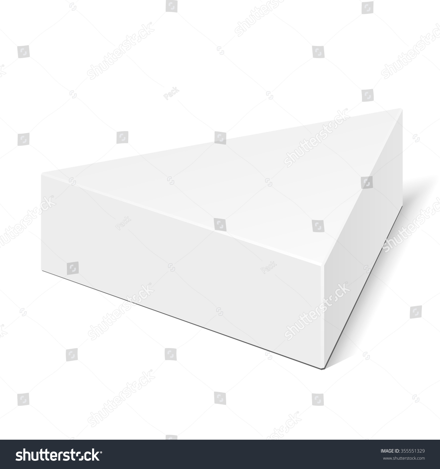 White cardboard triangle box packaging food stock vector for Triangle packaging template
