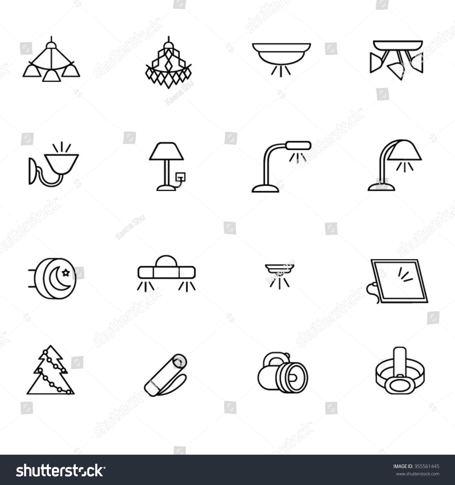 types lighting indoor use line icons stock vector 355561445 shutterstock. Black Bedroom Furniture Sets. Home Design Ideas