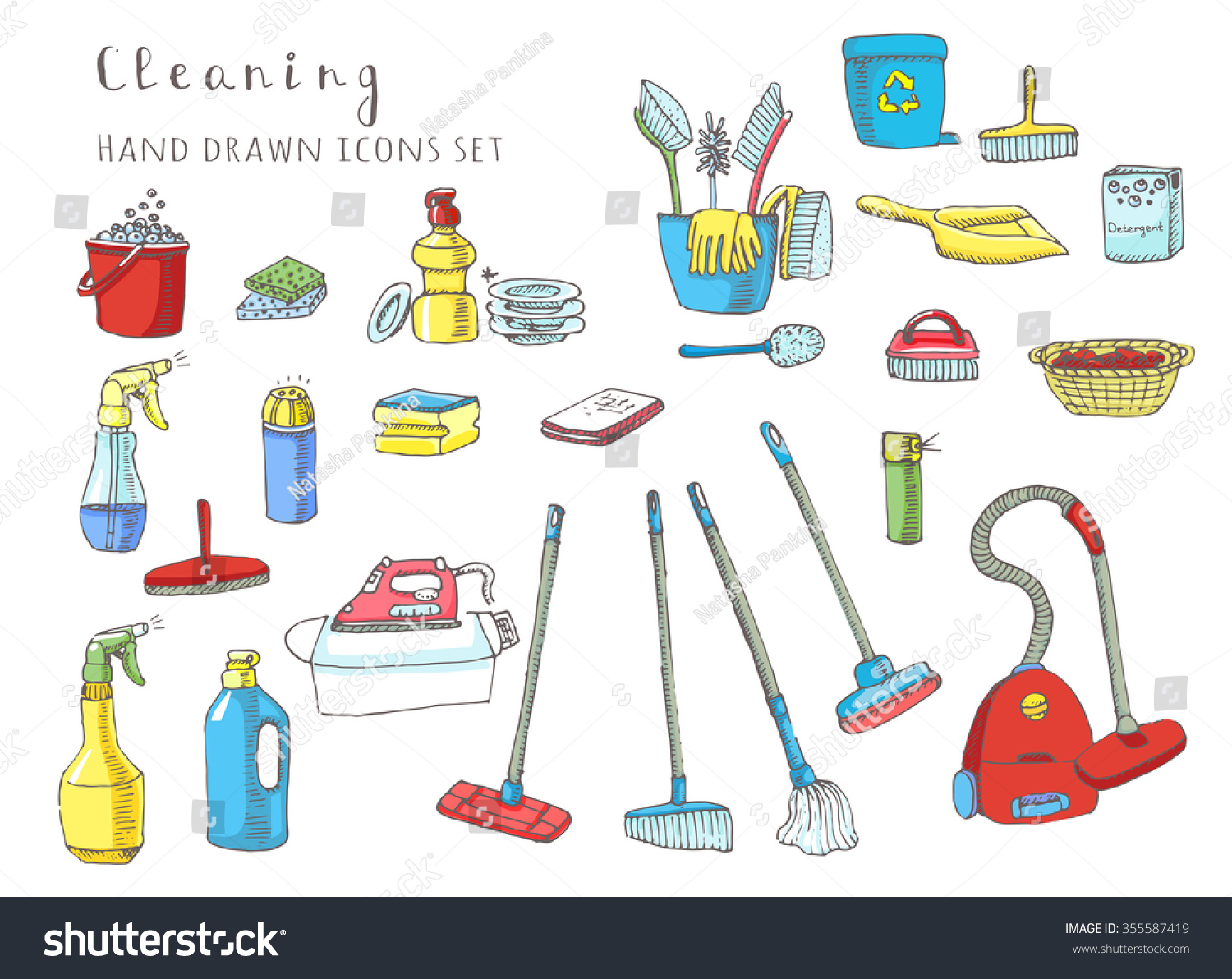 Hand drawn vector cleaning service icons stock vector for A la maison meaning