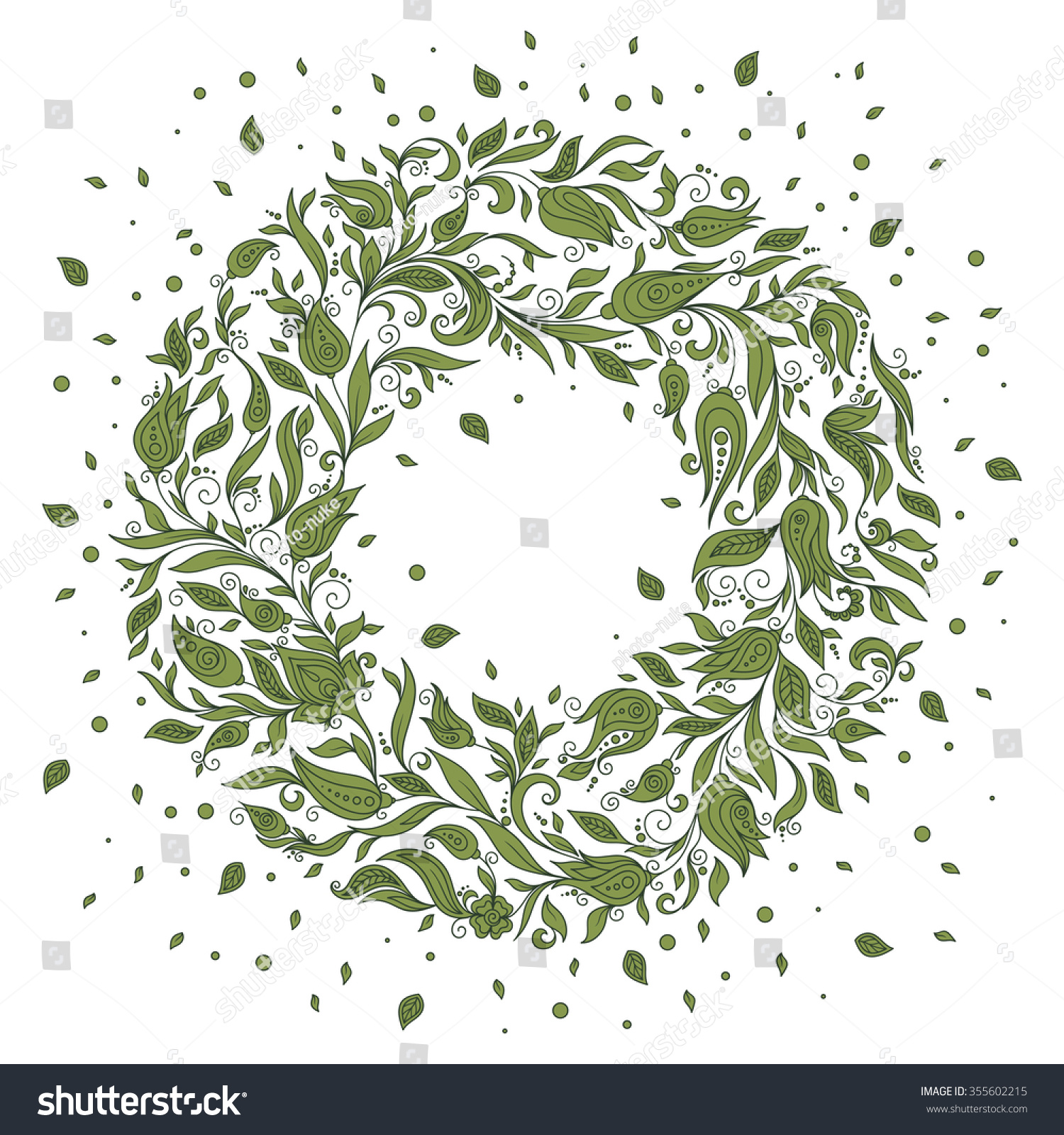 Floral Circle Doodles Flowers Round Shape Stock Vector 355602215 ...