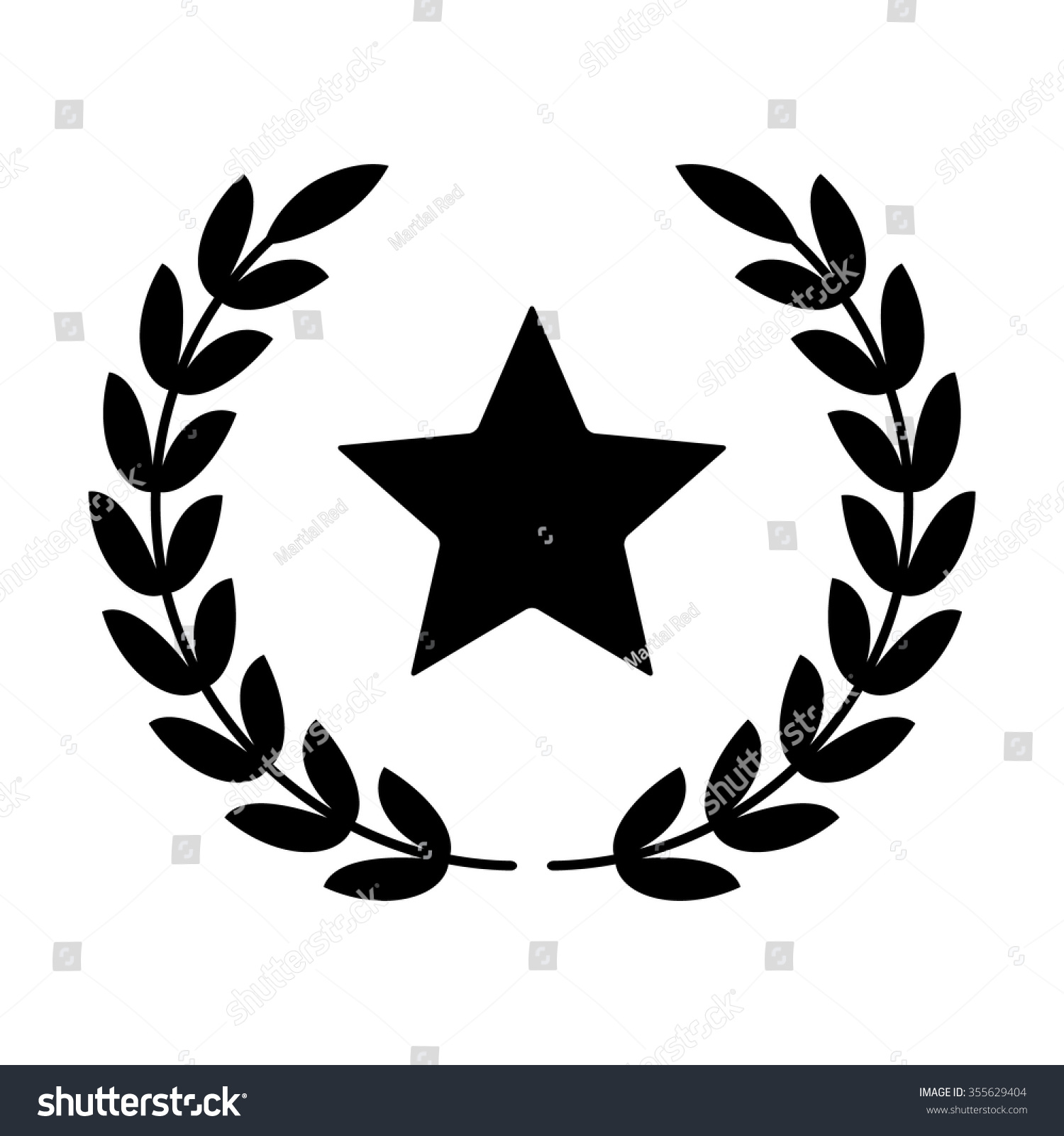 Laurel Wreath Star Symbol Victory Glory Stock Vector Royalty Free