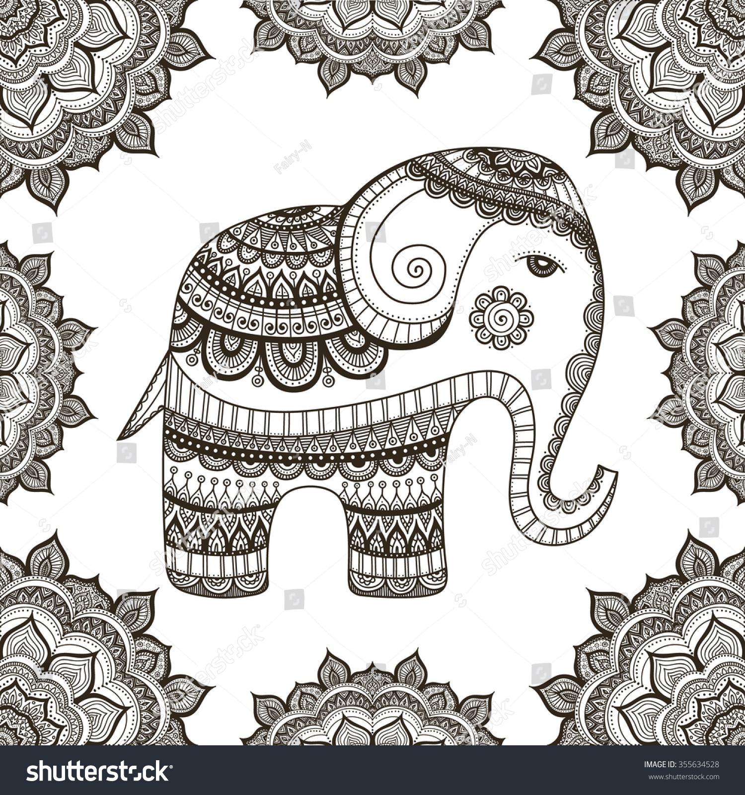 Indian Elephant Hand Drawn Elephant Doodle Stock Vector (Royalty ...
