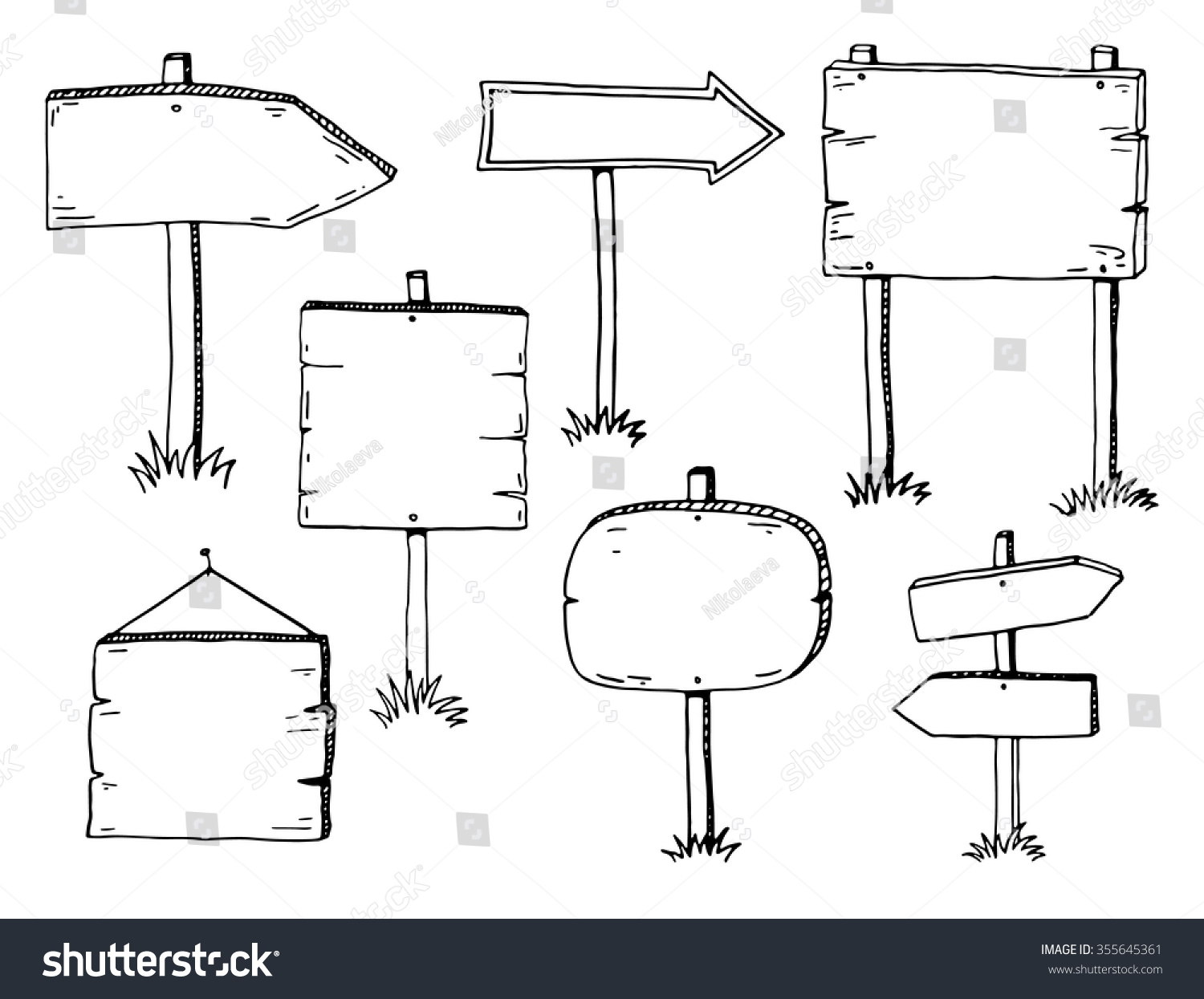 Hand drawn doodle wood signs and arrows set #355645361