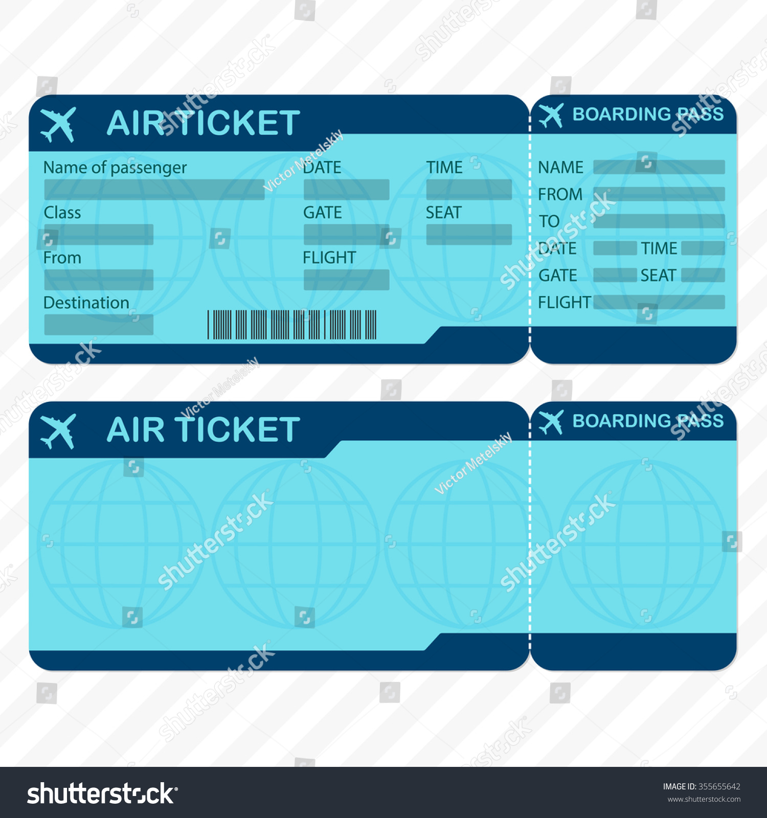 Airline Plane Ticket Template Detailed Boarding Vector – Plane Ticket Template