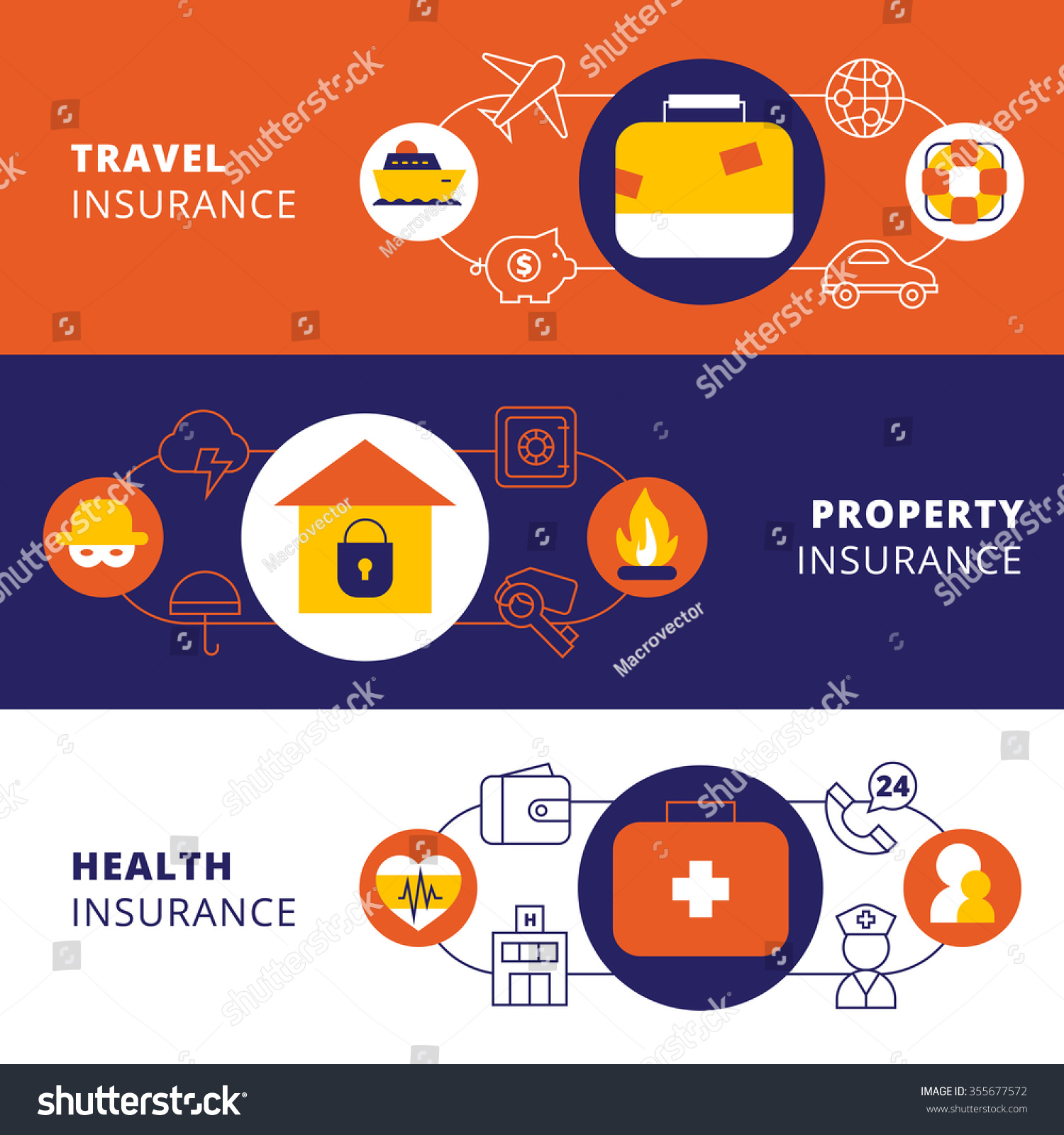 Health Insurance Companies >> Property Travel Cars Health Insurance Companies Stock Vector