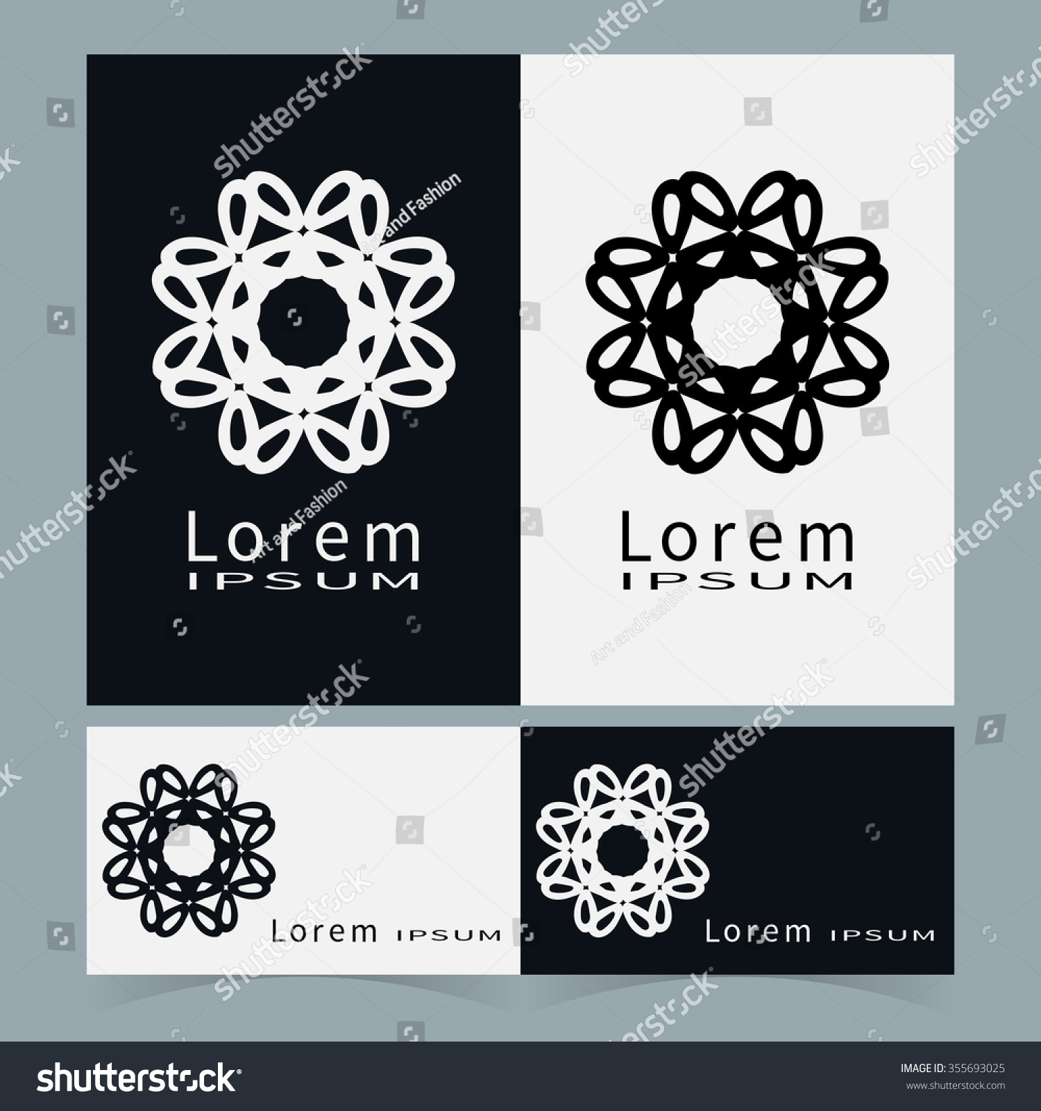 black white floral geometric element logo stock vector