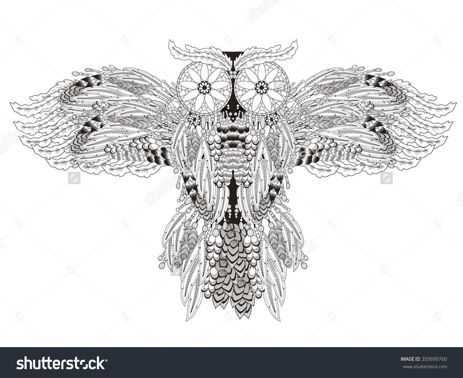 Coloring pages dream catchers - Flying Owl Coloring Page With Dream Catchers In Exquisite Line