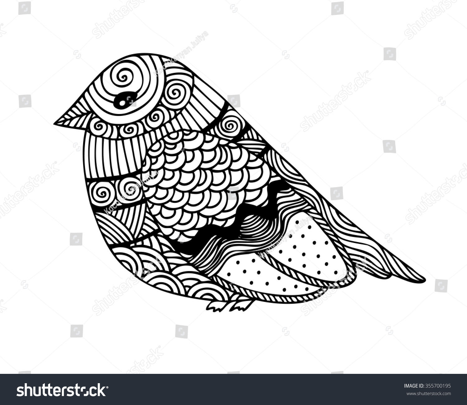 Adult Coloring Book Page Design With Fantastic Bird