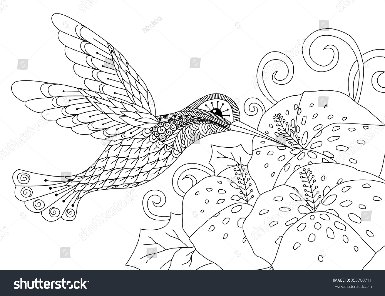 Zentangle Humming Bird Design Coloring Book Stock Vector