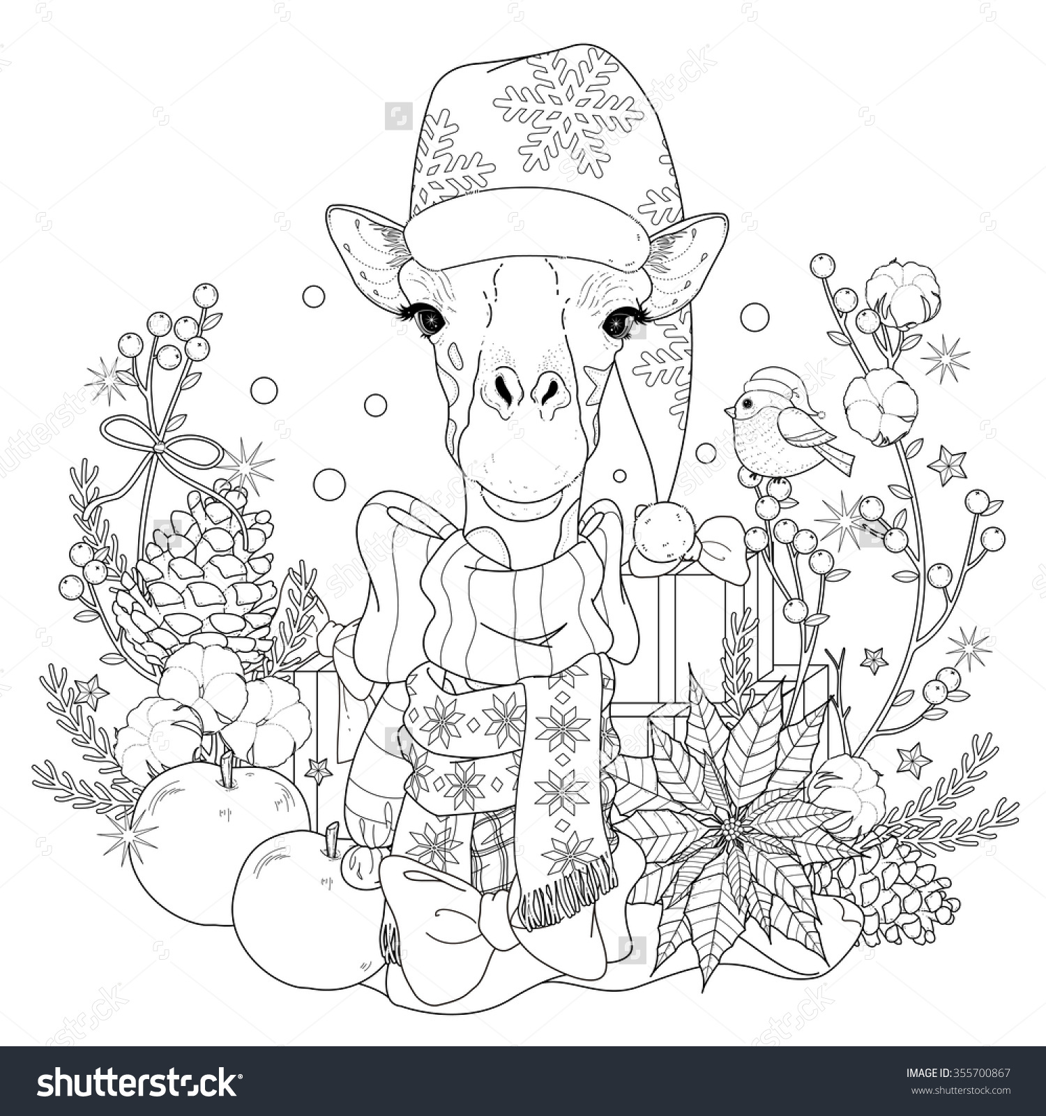 christmas giraffe coloring page with decorations in exquisite line preview save to a lightbox