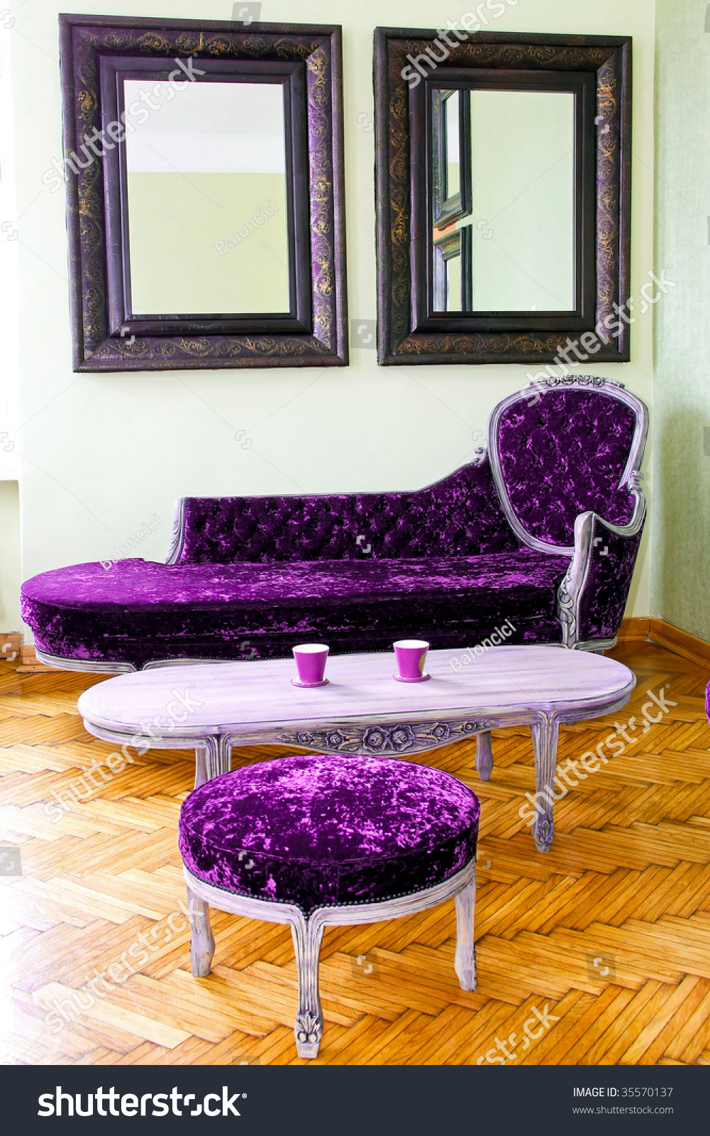 Living Room With Purple Upholstered Furniture Set Stock Photo 35570137 Shutterstock